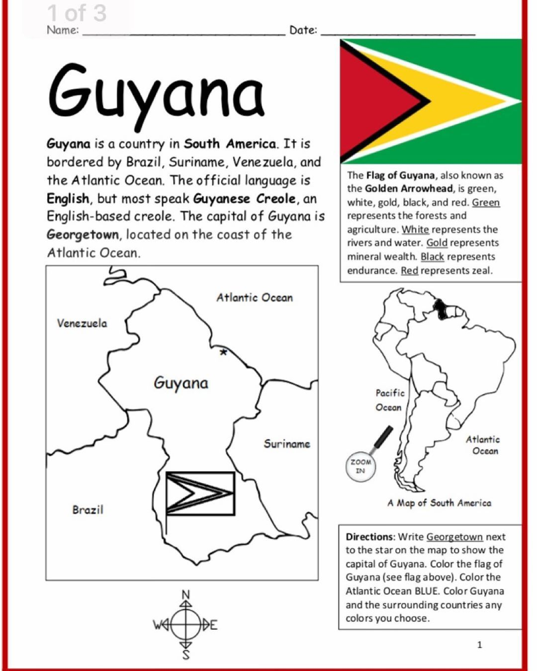 Interactive Printables On Instagram Guyana Is A