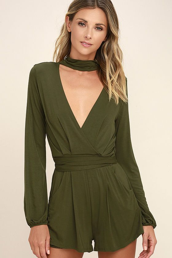 dd4218e22c46 Sexy Olive Green Romper - Long Sleeve Romper - Surplice Romper -  54.00