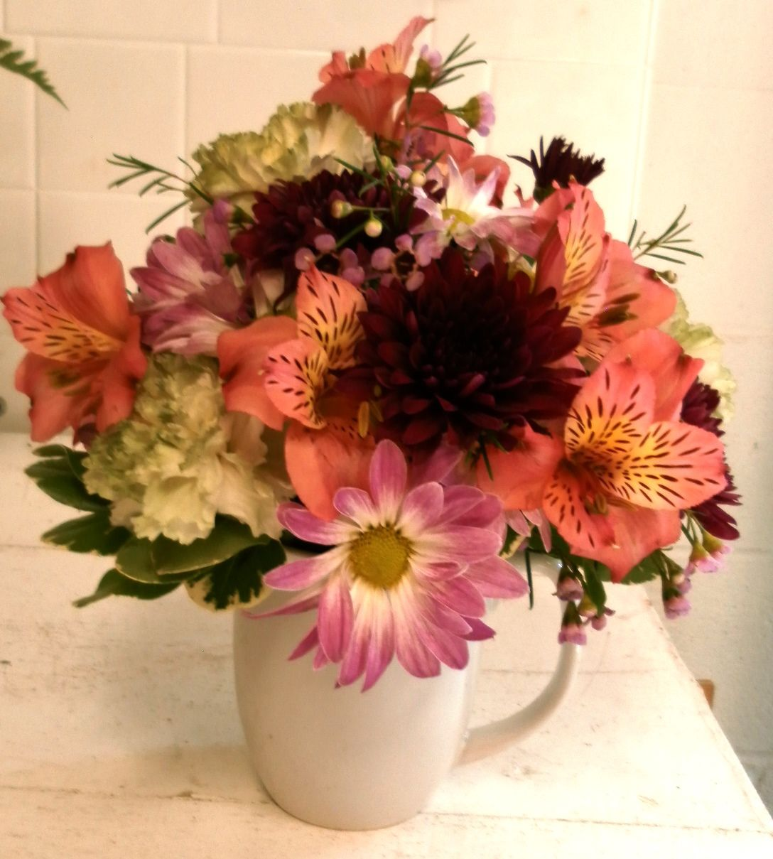Good Morning from Simplicity Floral! Wake up to this stunning arrangement in a coffee/tea mug filled with all your favorite blooms!