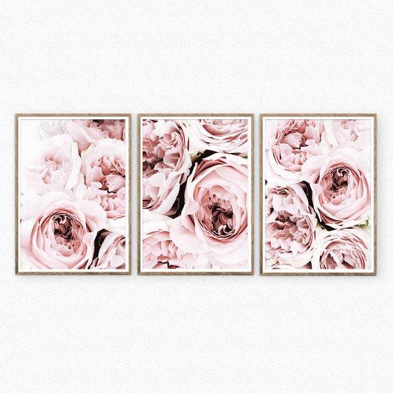 Set Of 3 Blush Pink Peonies Prints Peony Print Floral Print Etsy Pink Wall Art Pink Peonies Print Wall Art Sets