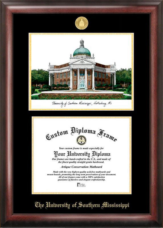 Southern Mississippi Gold embossed diploma frame with Campus Images ...