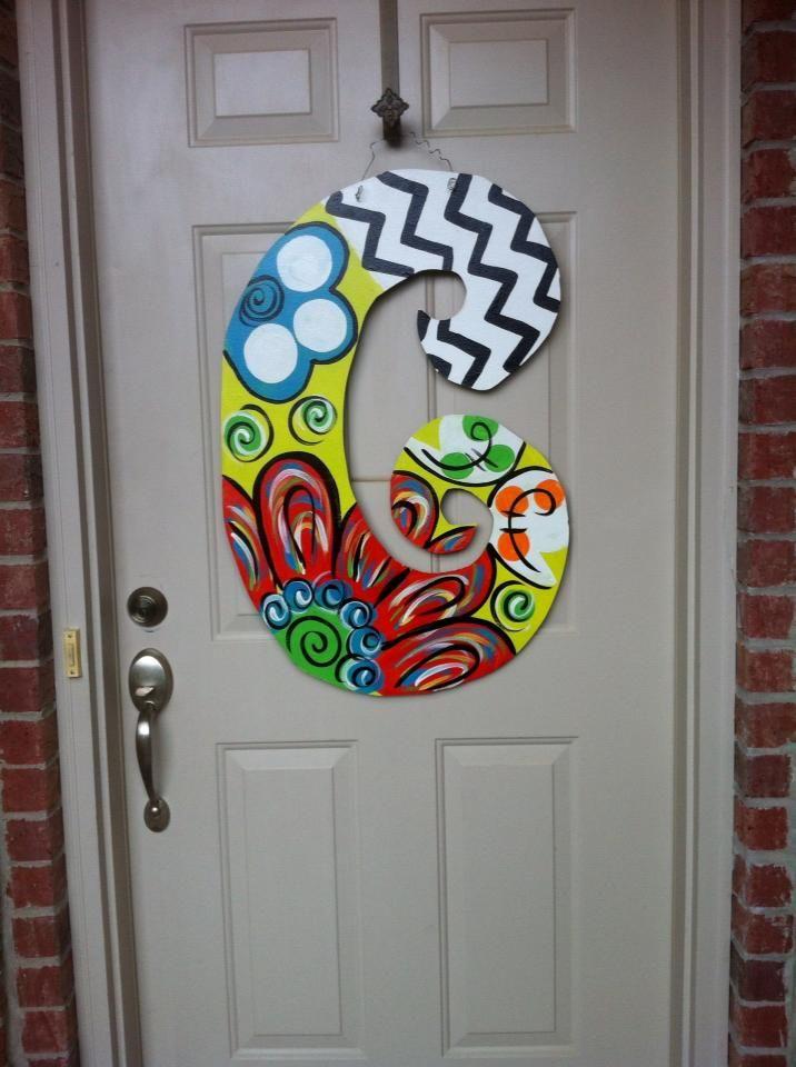 Painted Letter For Front Door Initial Door Hanger Painted Letters Wooden Door Hangers