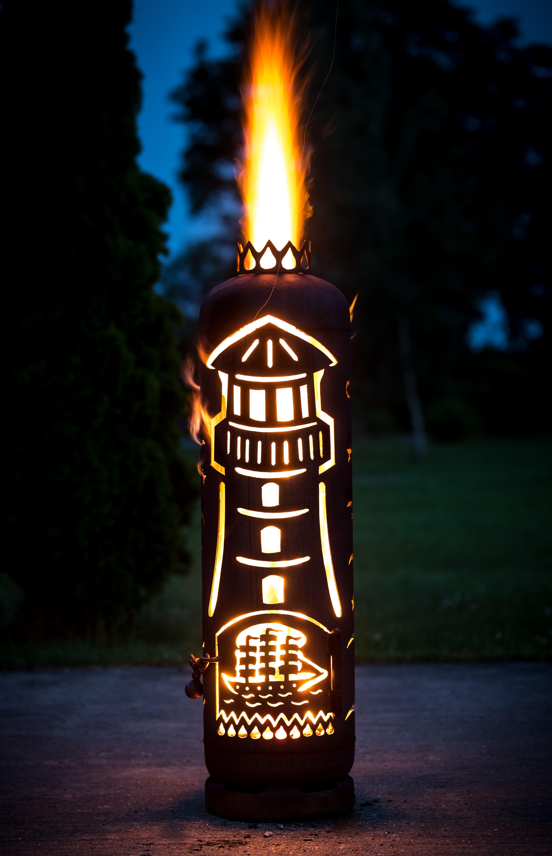 Feuerstelle Leuchtturm Hergestellt Aus Einer Gasflasche Jmfeuer Feuerstelle Metallfeuerstelle Feuersaule