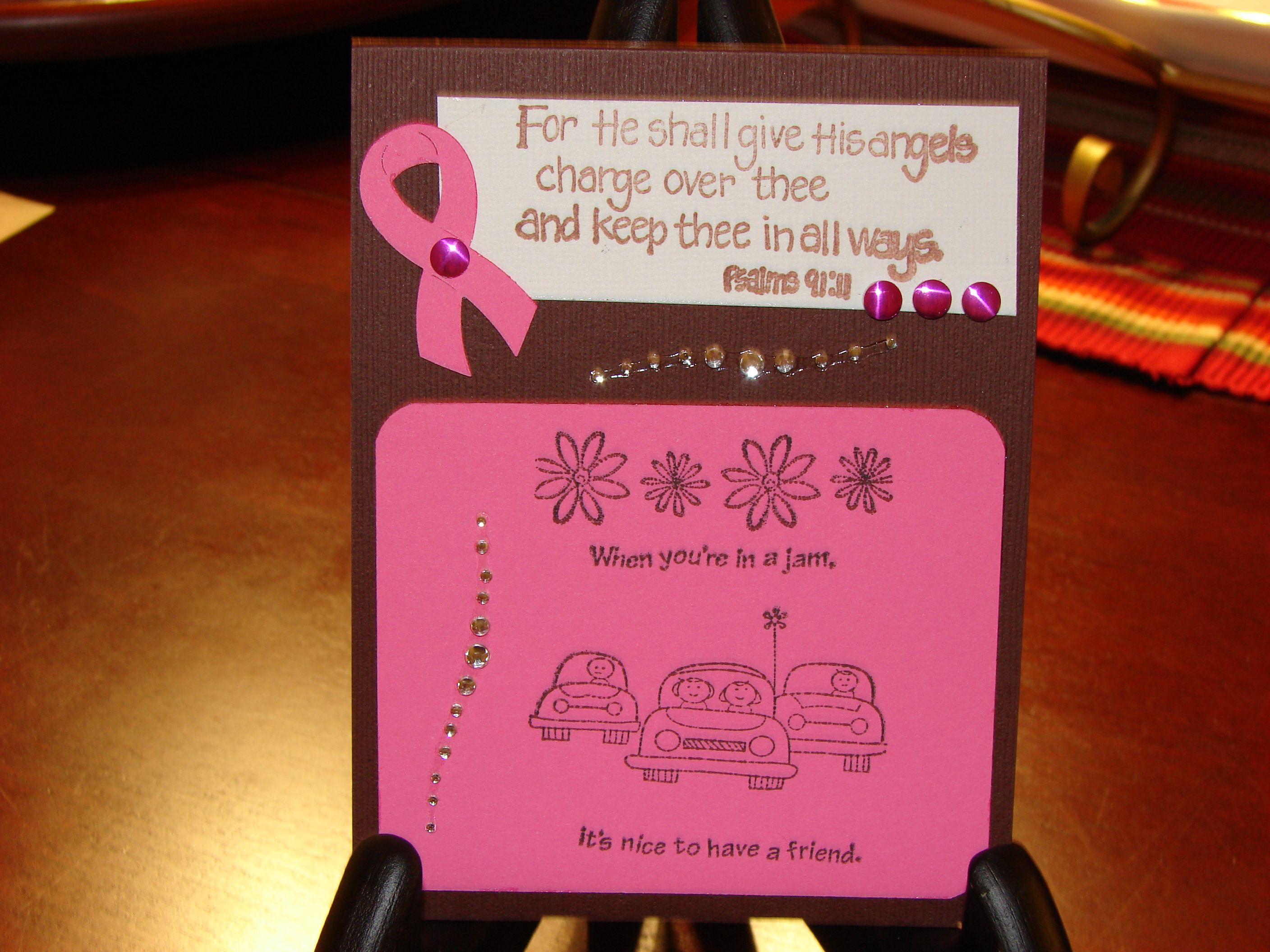 Think pink breast cancer awareness card mitchell pink ladies