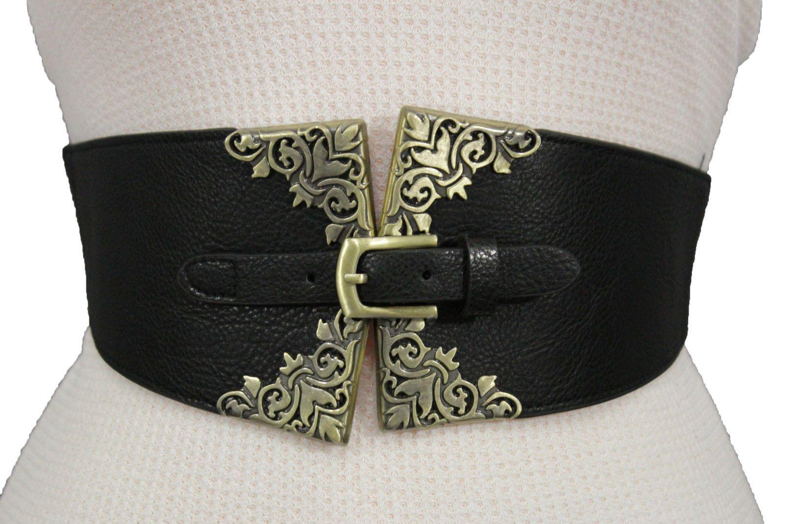 Black Faux Leather Stretch Back Wide Corset Hip Waist Belt Antique Gold Buckle F…