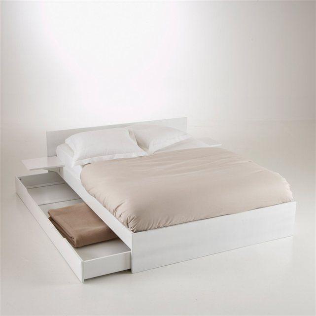 lit avec sommier tiroir et tablettes