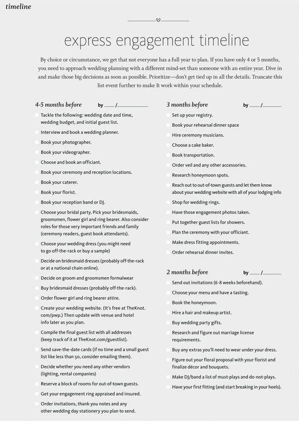 Express Engagement 4 5 Month Planning Checklist For Those Who Don T Have The Luxury Wedding Planning Binder Wedding Organizer Planner Wedding Planning Tips