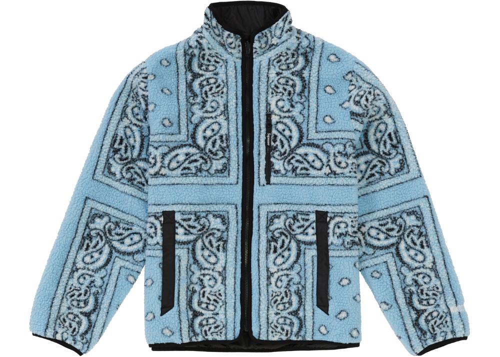 Supreme Reversible Bandana Fleece Jacket Light Blue In 2020 Fleece Jacket Street Wear Cool Outfits