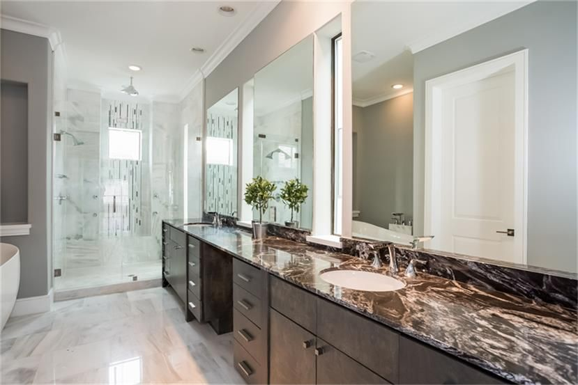 6011 Burgoyne Rd Houston, TX Photo Polished Marble Floor And Rich Marble  Countertops Distinguish The Master Bath