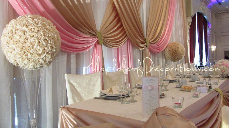 toronto wedding decorations custom backdrop and head table draping design french victorian. Black Bedroom Furniture Sets. Home Design Ideas