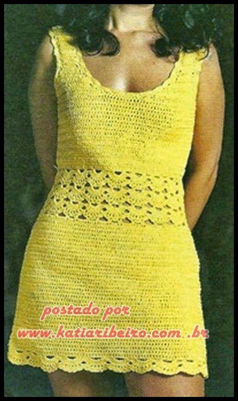 fb8d84bb6 Katia Ribeiro Crochê Moda e Decoração | Vestido de crochê | Crochet ...