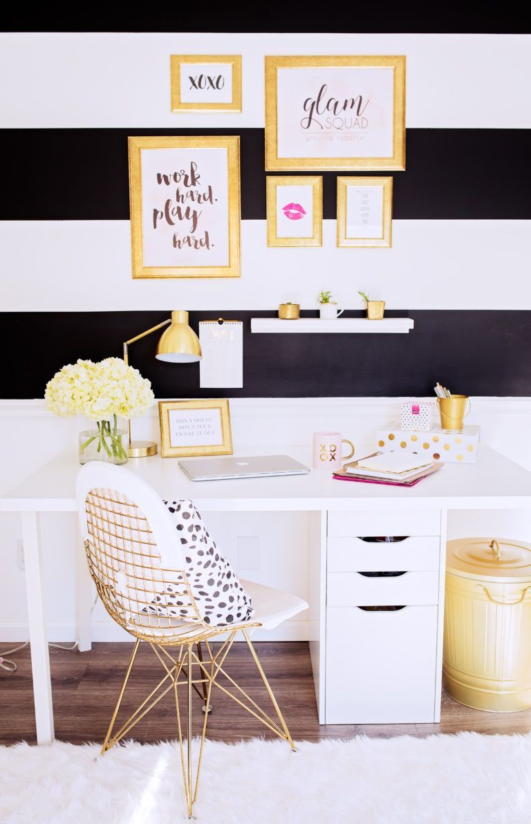 Gold Black Pink Office Gold Curtains Work From Home