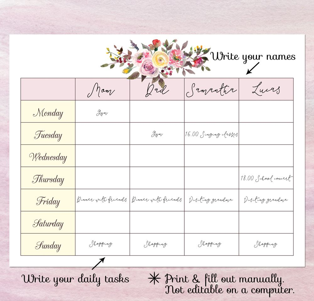 picture regarding Weekly Family Planner identified as Printable weekly spouse and children planner - blank weekly program