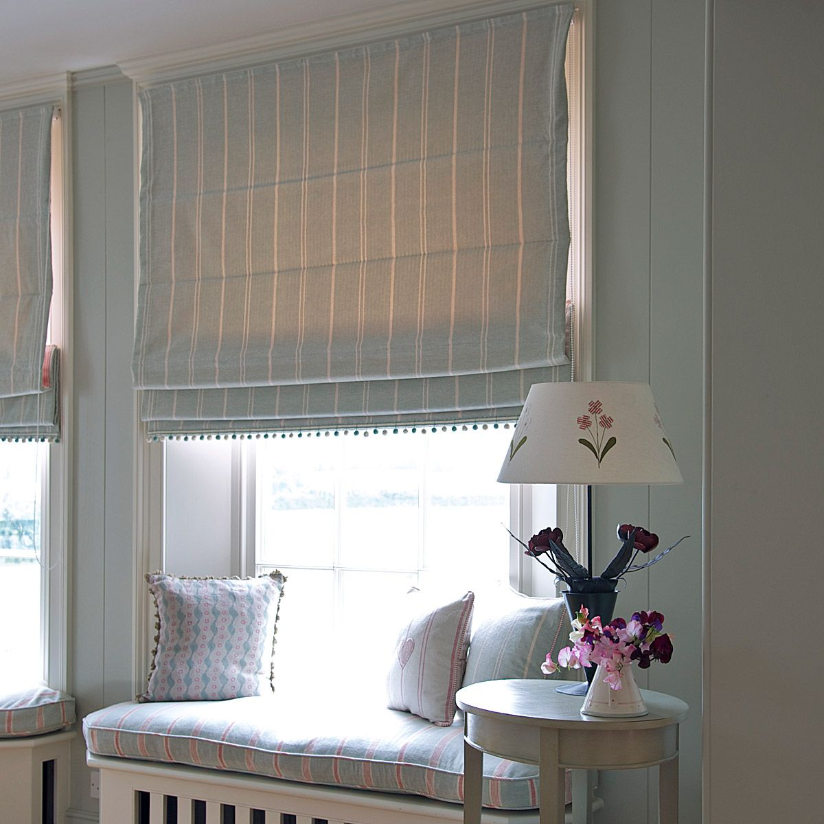 Window seat designs duck egg ivory vintage stripe t for Window seat curtains