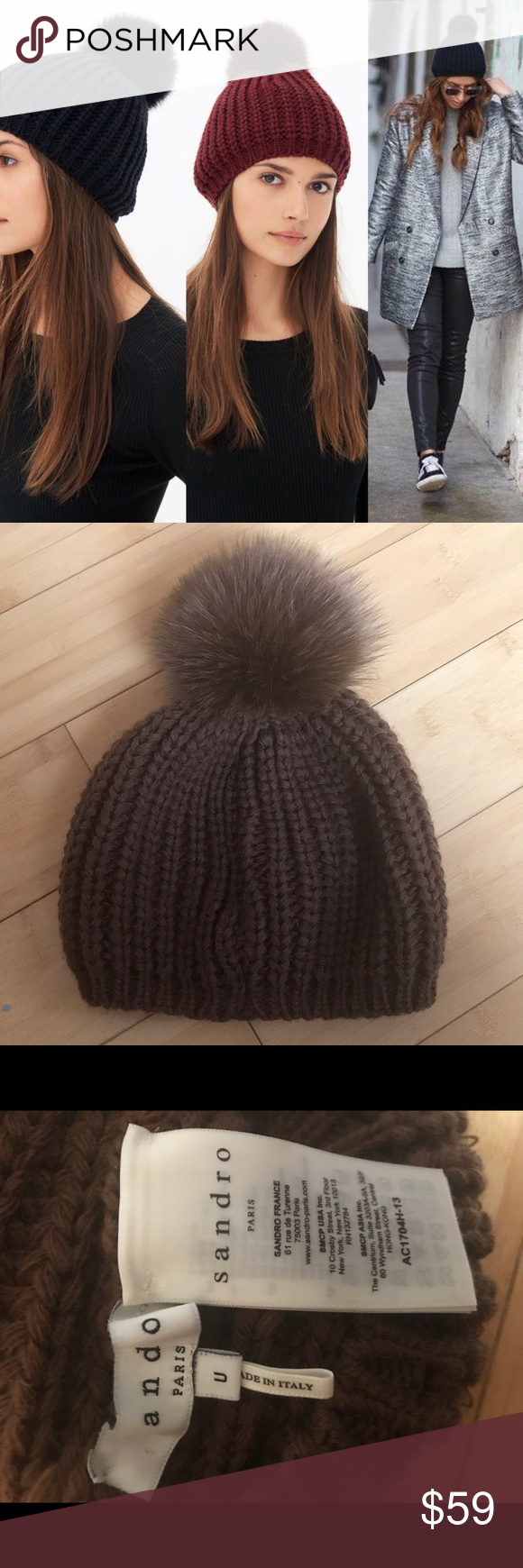 aa029e6afd9 Sandro Knitted Beanie with Pom Pom (brown) Brown Sandro beanie with real  fur Pom