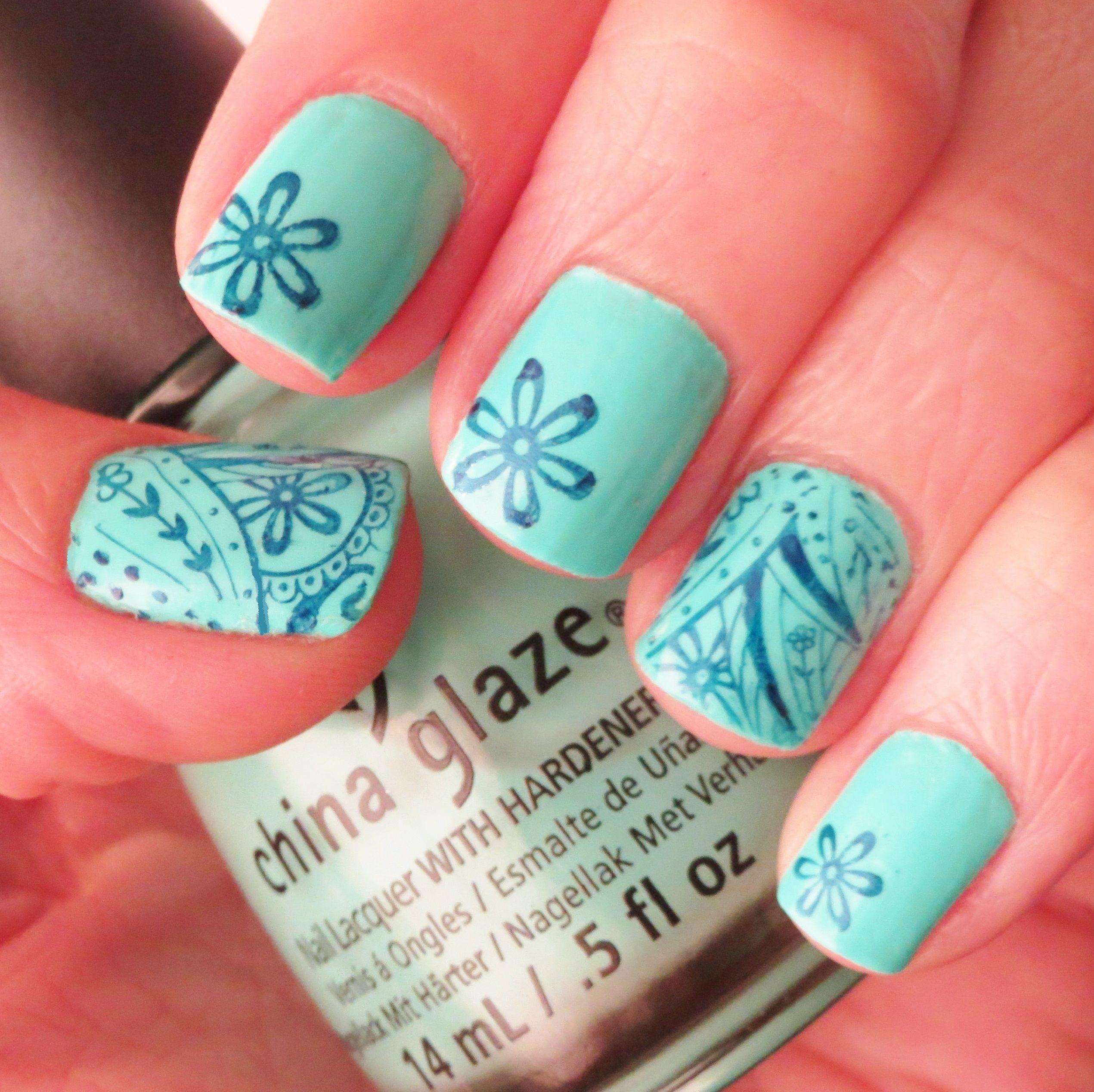 Blue paisley nailart china glaze too yacht to handel u nyc