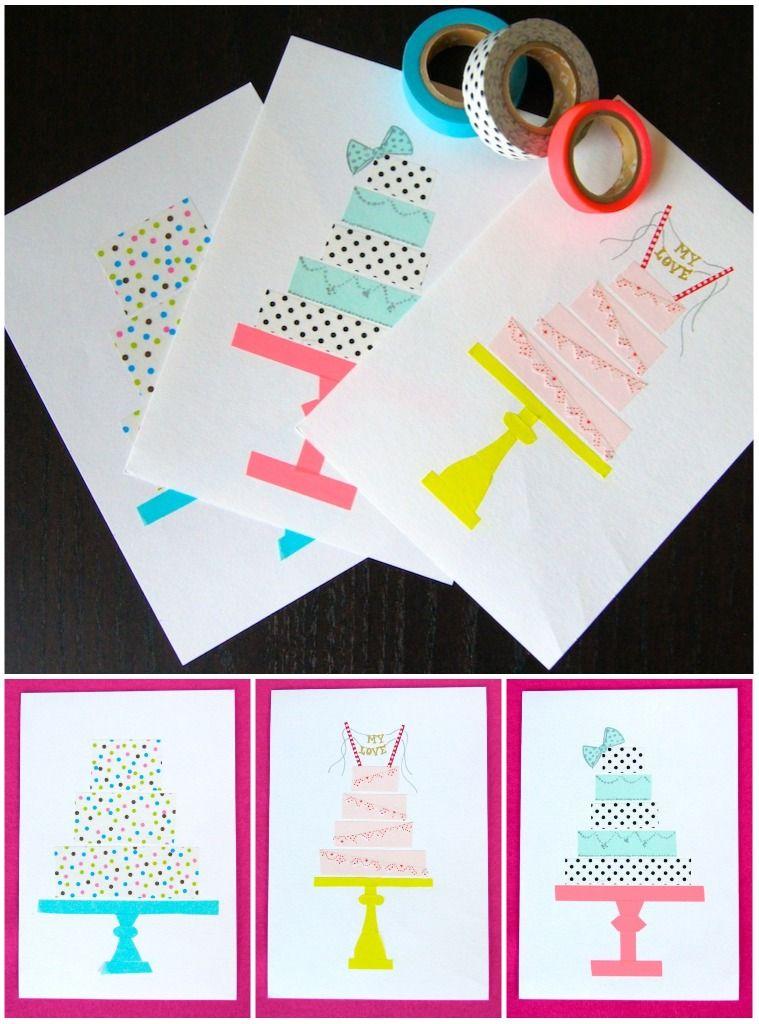 Omiyage Blogs DIY Washi Tape Birthday Cards cute birthday cards – Website for Birthday Cards