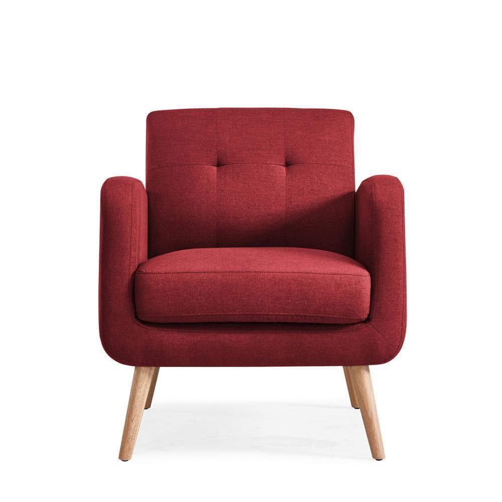 Best Kingston Burgundy Red Linen Mid Century Modern Arm Chair 400 x 300