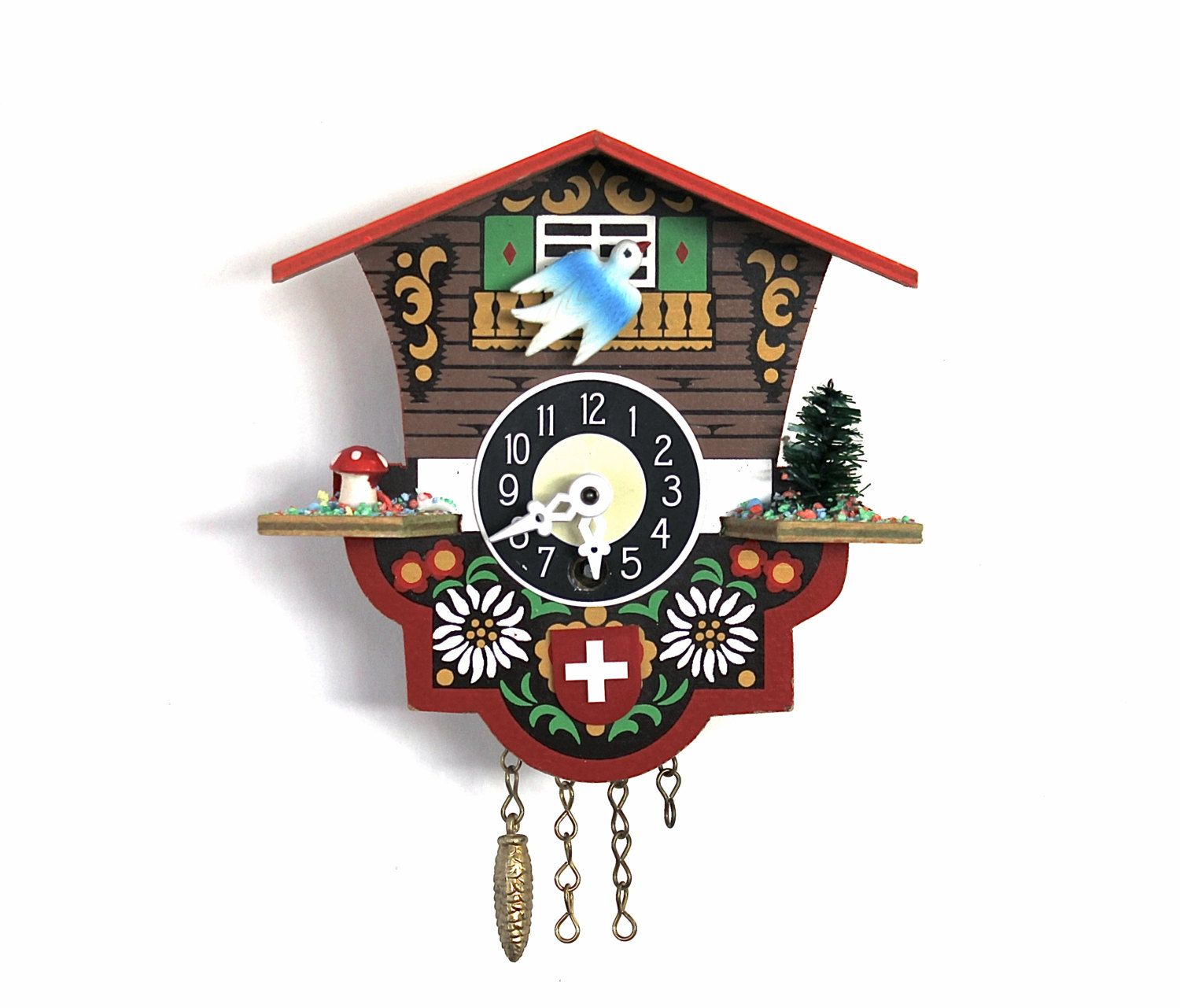 One Flew Over The Cuckoo Clock - Vintage German Cuckoo Clock - Red ...