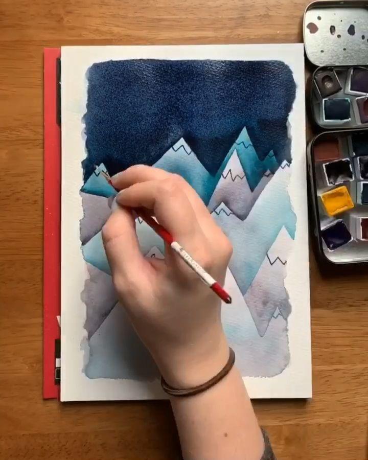 Watercolor mountain tutorial #easywatercolorpaintings