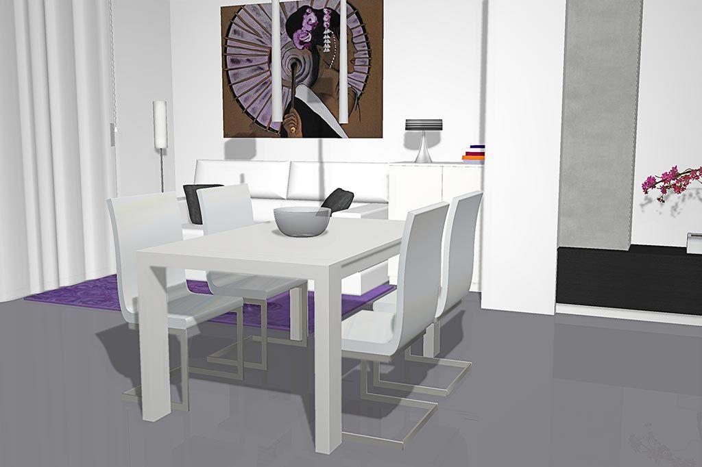 Vista de la mesa de comedor extensible con cuatro sillas tapizadas ...