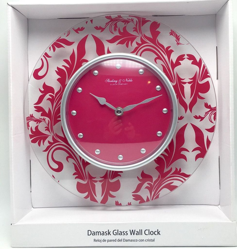 Damask Glass Wall Clock Pink Sterling Noble Clock Company Glass Quartz New Wall Clock Clock Glass Wall