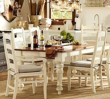 GREAT Table! Keaton Extending Dining Table   French White #potterybarn