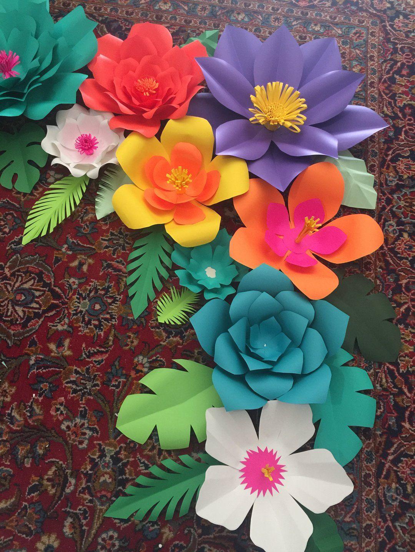 Paper Flower Tropical Diy Kit Paper Flowers Paper Flowers Diy