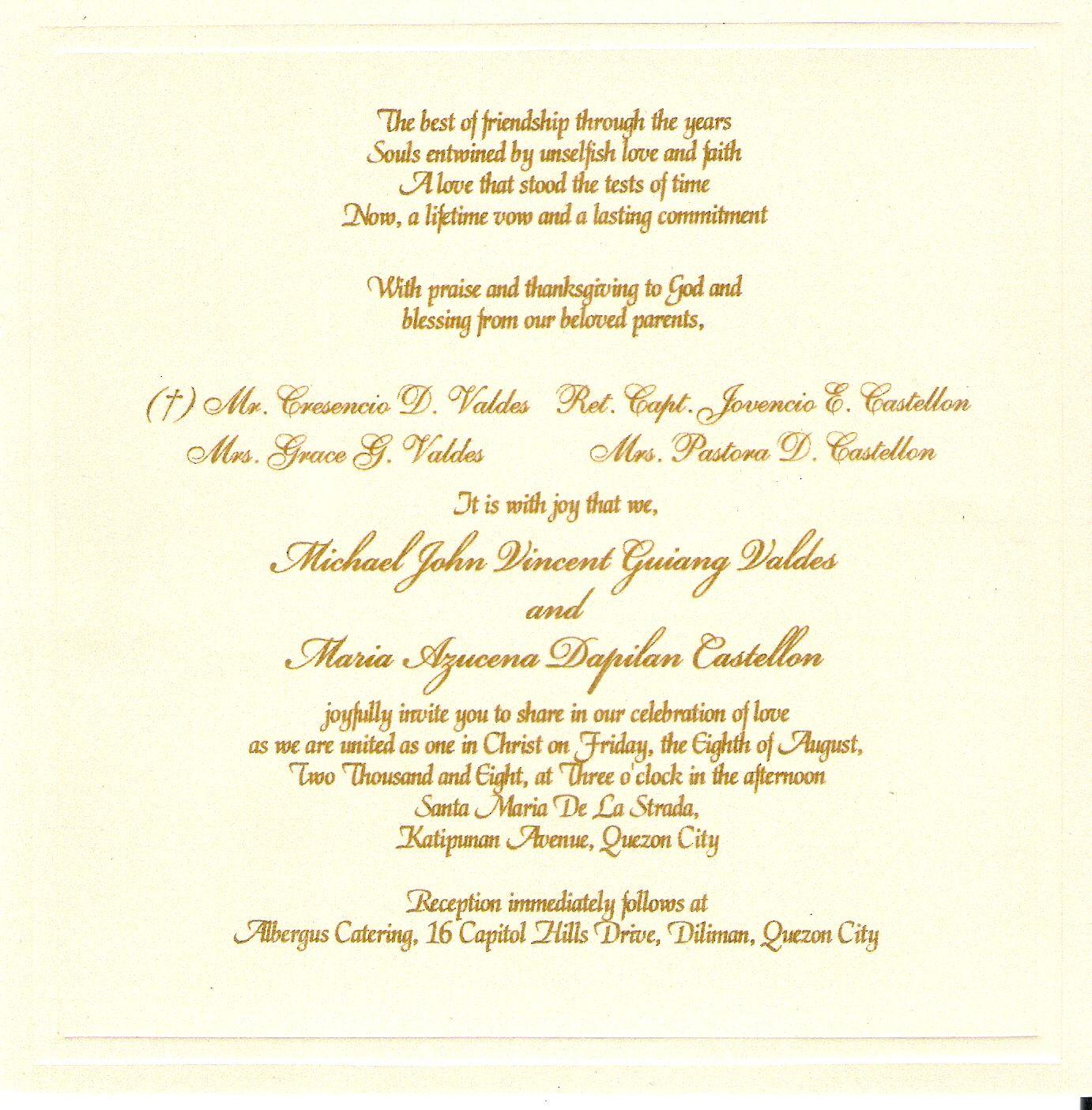 Wedding Invitation Monica And Tito