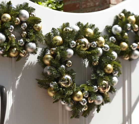 Outdoor Ornament Pine Wreath - Gold/Silver   Pottery Barn