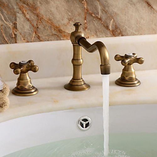 Classic Widespread Bathroom Faucet Polished Brass Finish