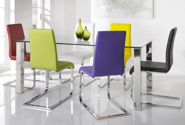 Colorful Dining Chairs With Gl And Stainless Steel
