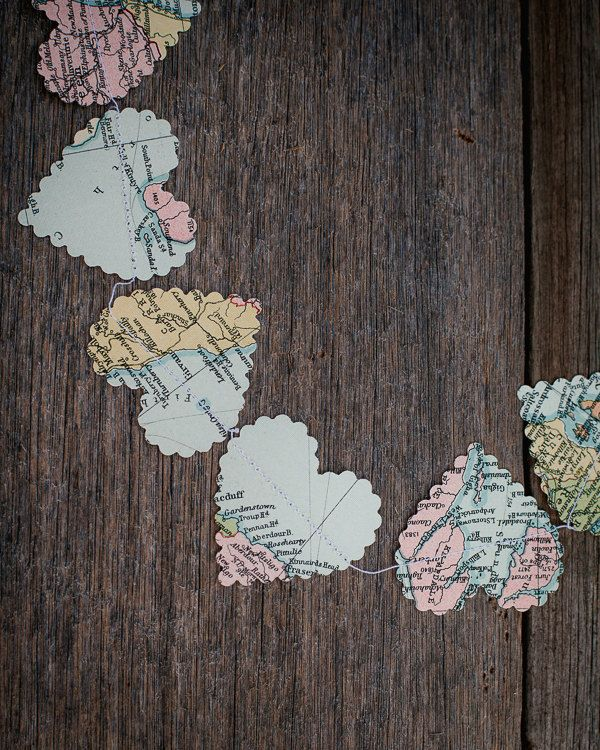 Vintage paper world map hearts garland art pinterest vintage paper world map hearts garland gumiabroncs Gallery