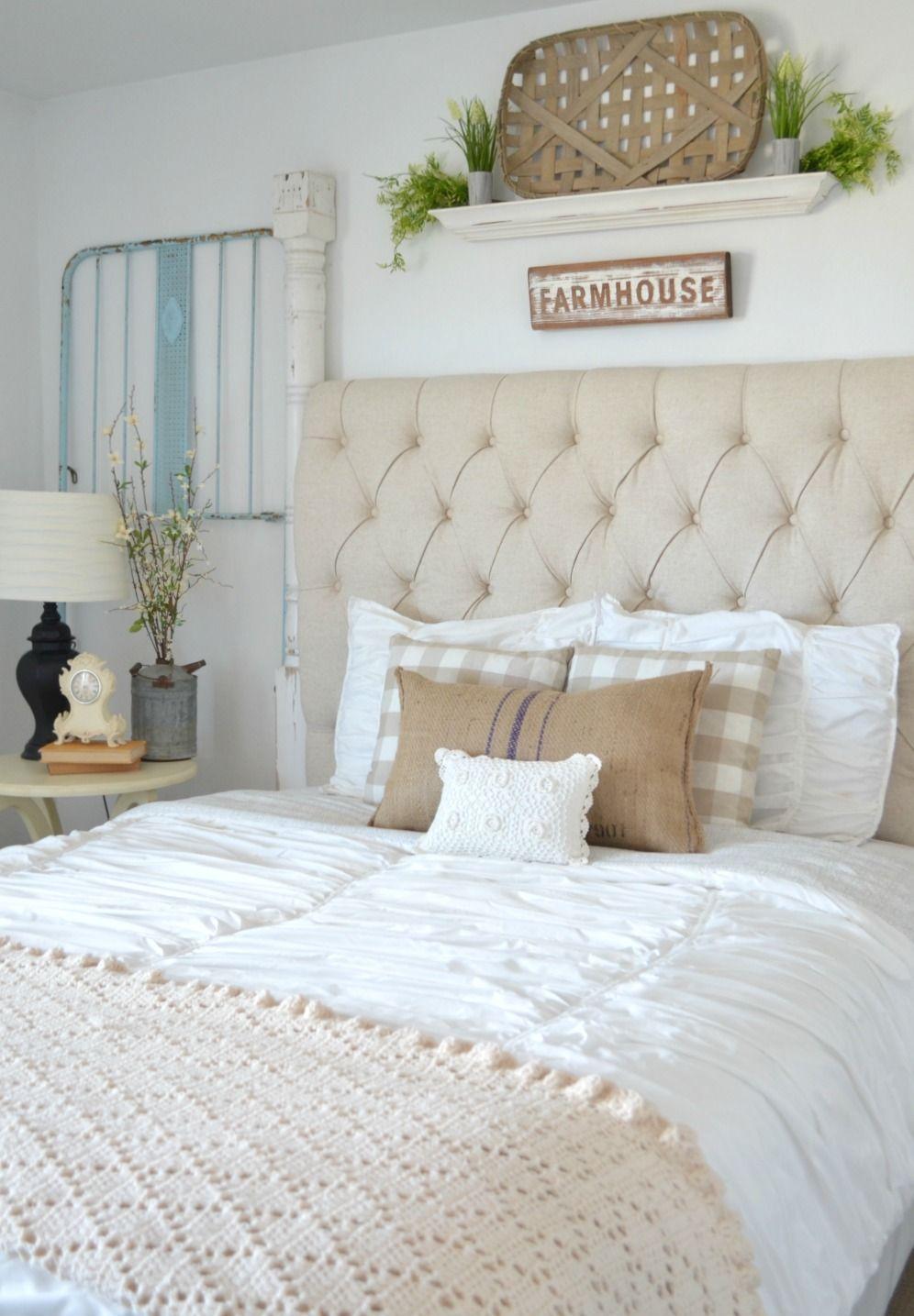 Vintage master bedroom decor  Vintage Crib Frames in Cozy Guest Bedroom  Farmhouse bedroom decor