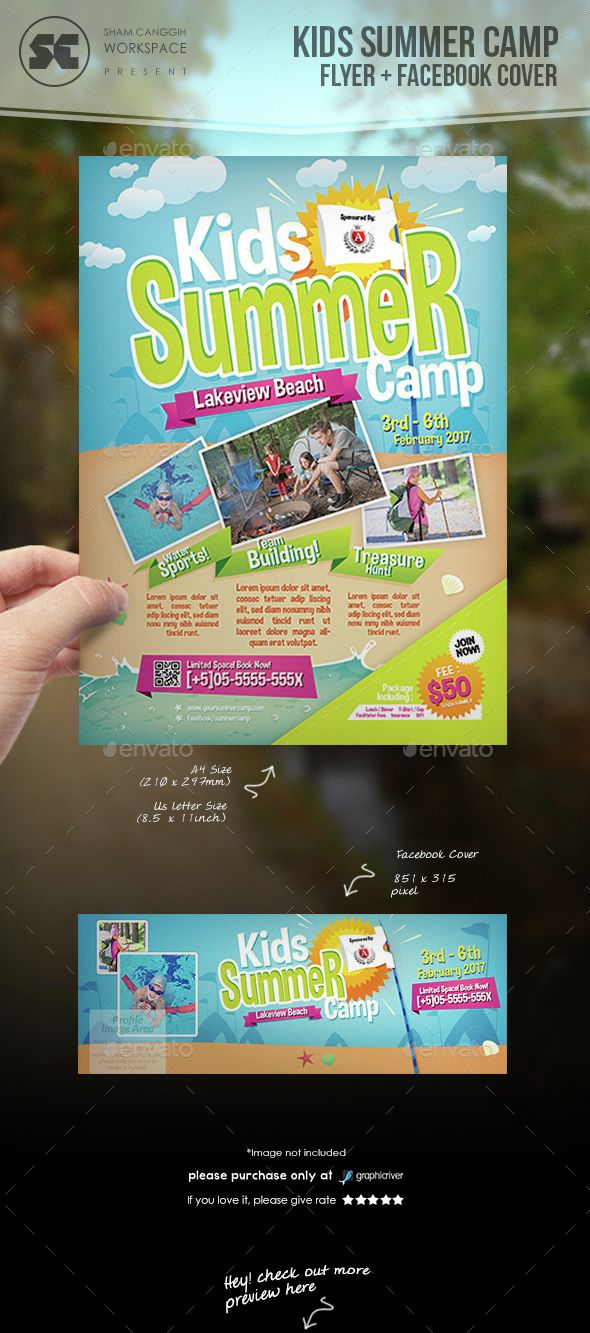 Kids Summer Camp Flyer  Flyer Template Brochures And Graphic