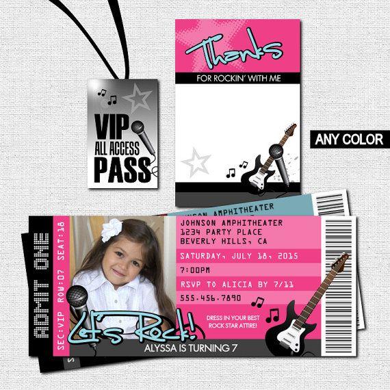 CONCERT TICKET Invitations Rock Star Birthday Party by nowanorris - concert ticket invitations