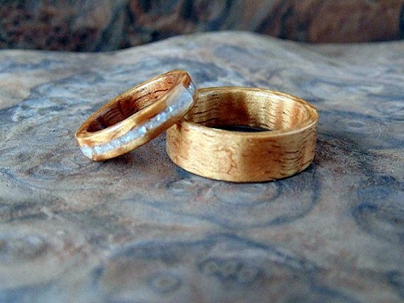 Wooden Wedding Bands Hawaiian Koa With Mother Of Pearl