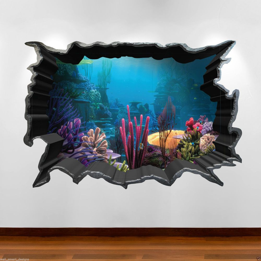 Tropical fish aquarium 3d colour wall art sticker decal boys girls tropical fish aquarium 3d full colour wall art sticker decal boys girls bedroom jeuxipadfo Images