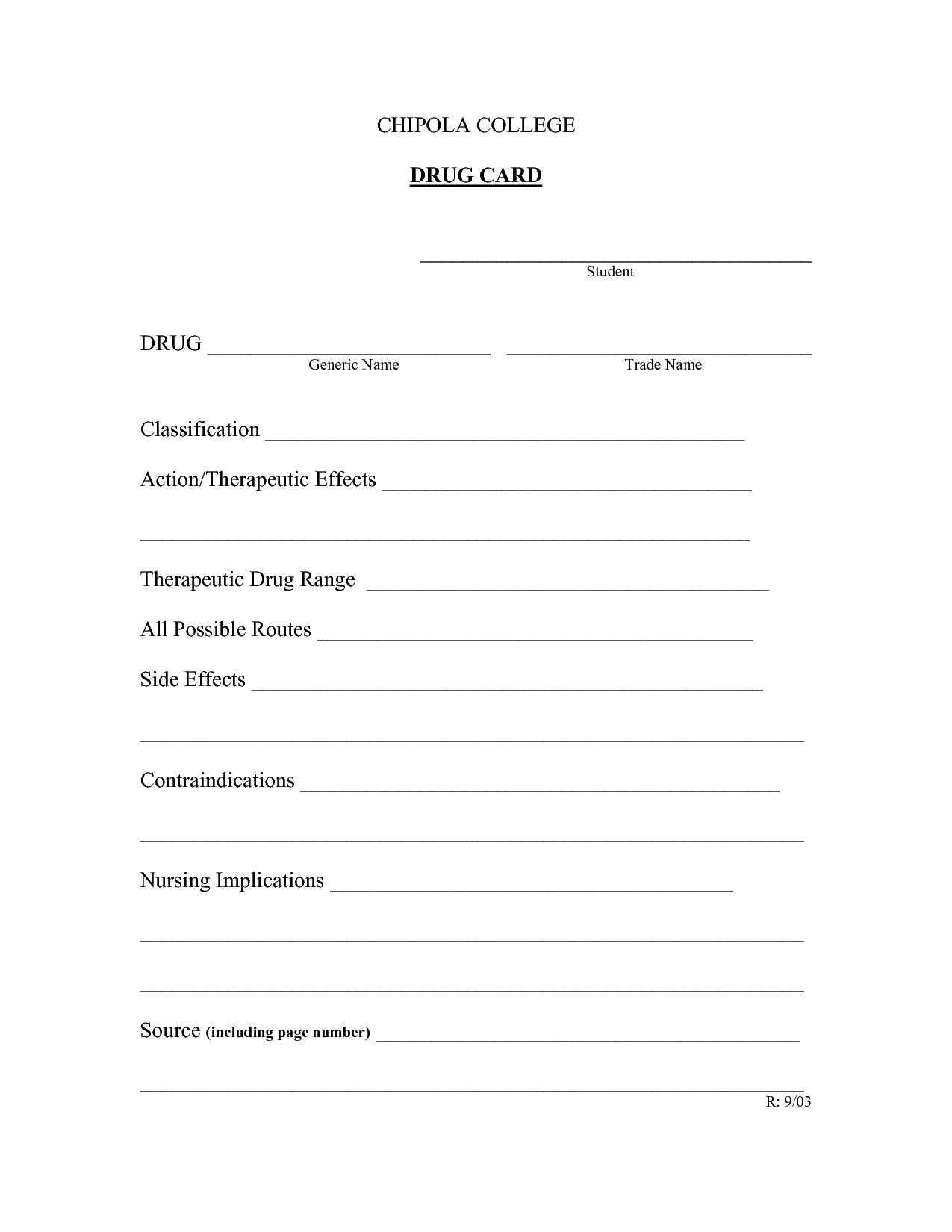 Drug Classification Worksheet