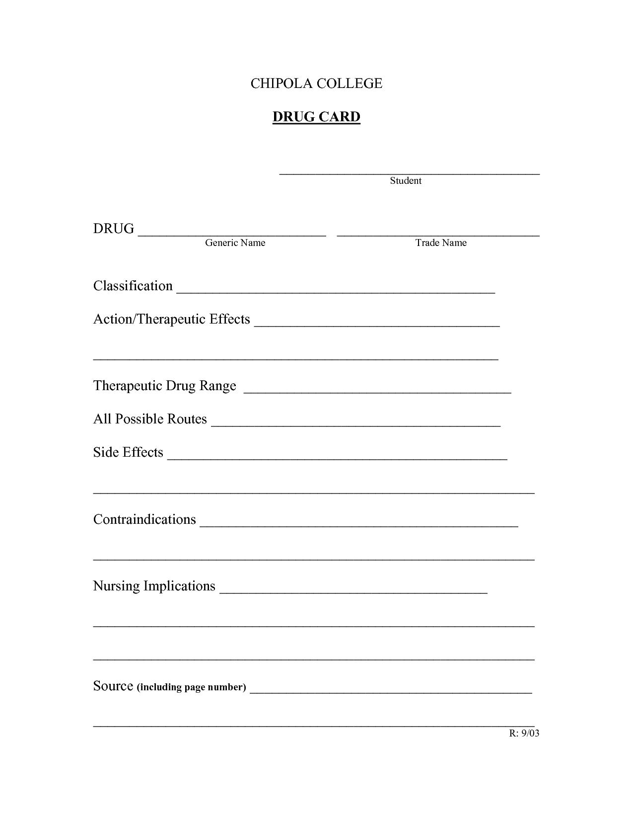 Drug Classification Worksheet