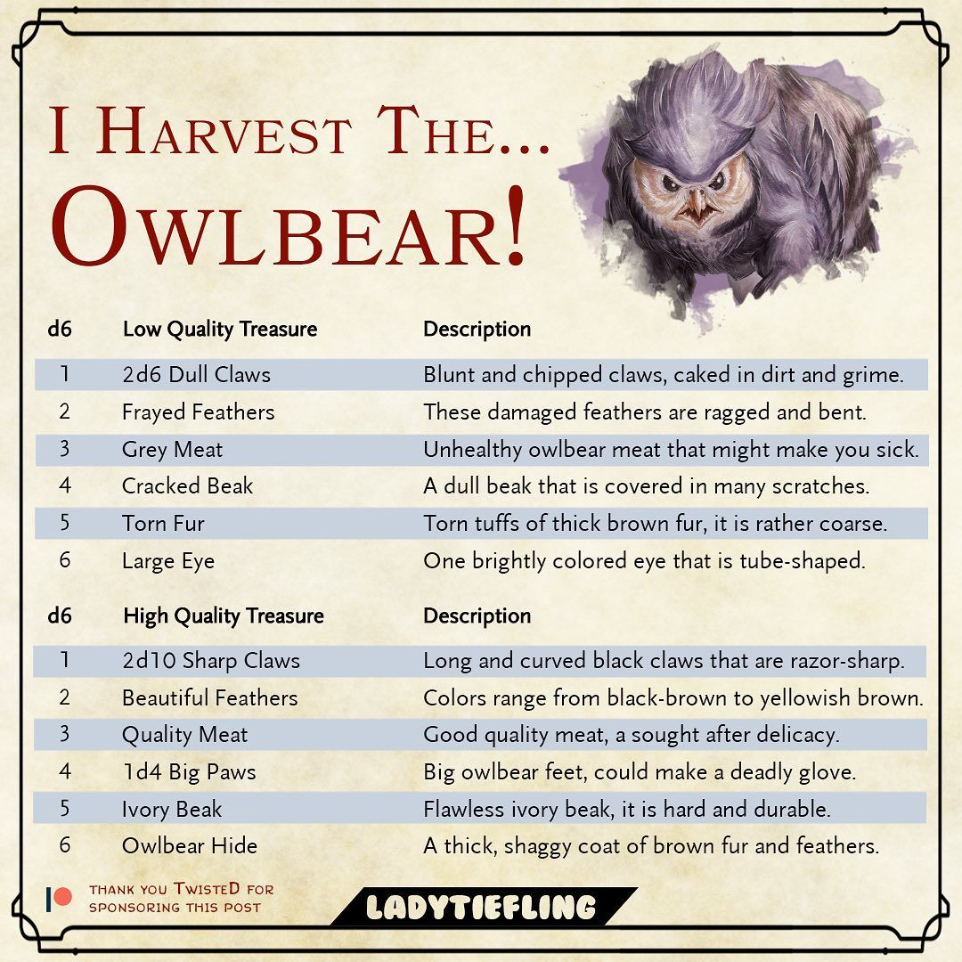 Lady Tiefling On Instagram I Harvest The Owlbear This Table Is Brought T Dungeons And Dragons Homebrew Dungeon Master S Guide Dungeons And Dragons Game