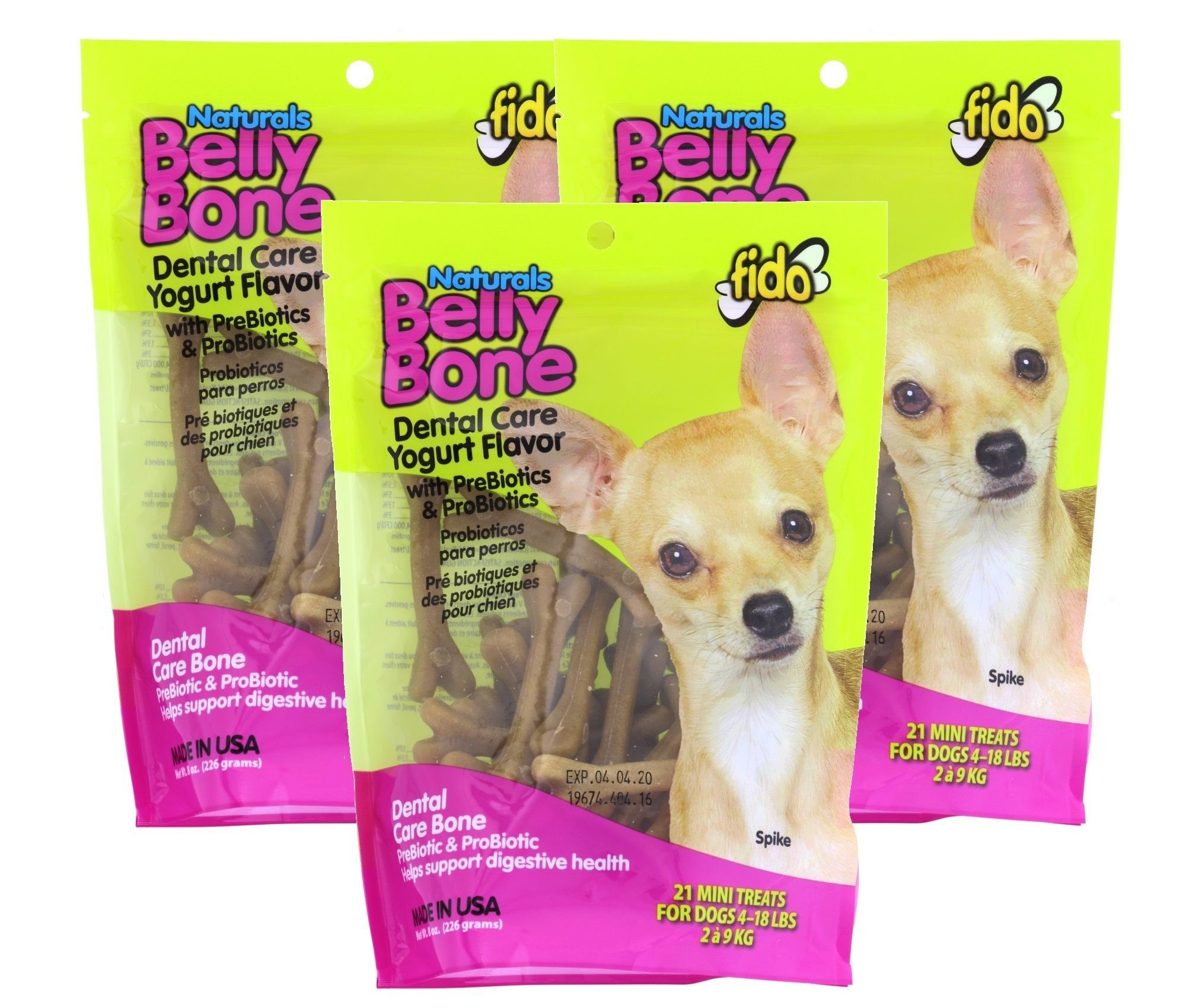 Fido Dental Care Belly Bones For Dogs Yogurt Flavor 21 Mini Treats