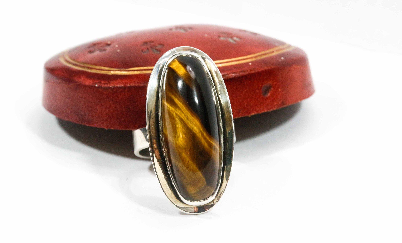 US size 6 Ring Carnelian Carved /& Polished Gemstone Dark Orange Brown Wide Plain Band UK Size K