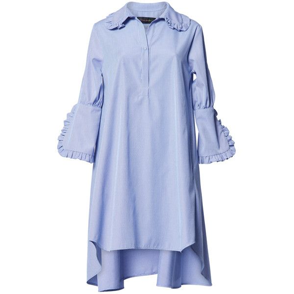 Romance Was Born Concerto Frill Shirt Dress (¥30,365) ❤ liked on Polyvore featuring dresses, hi low dress, blue shirt dress, high low shirt dress, three quarter sleeve dress and long sleeve shirt dress