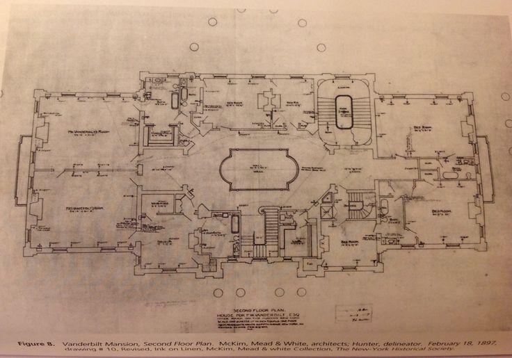 Vanderbilt Mansion Hyde Park 2nd Floor Gilded Age Mansions Architectural Floor Plans Mansion Floor Plan Vanderbilt Mansions