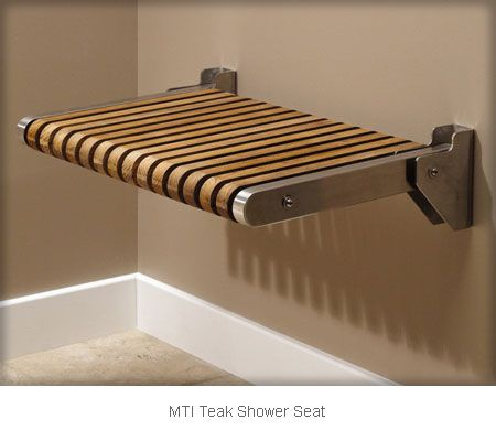 Flip down teak shower seat--more Zen! MTI Teak Shower Seat ...