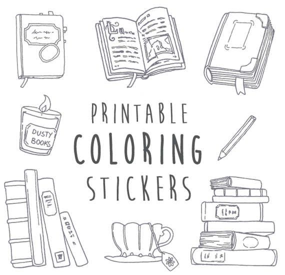NaNoWriMo Writing & Books Coloring Stickers Printable