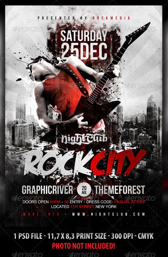 Rock City Concert Flyer   Poster Concert flyer, Party poster and - band flyer template