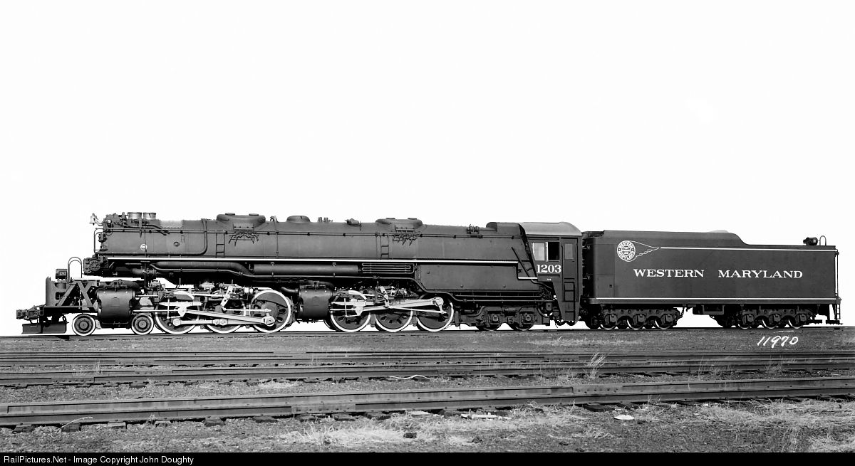 OLD WESTERN MARYLAND RAILROAD 1203 STEAM TRAIN LOCOMOTIVE FREIGHT ENGINE PHOTO
