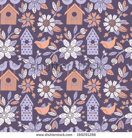 Seamless floral pattern with  birdhouses by tets, via Shutterstock